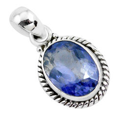4.84cts faceted natural blue iolite 925 silver solitaire pendant jewelry p41581