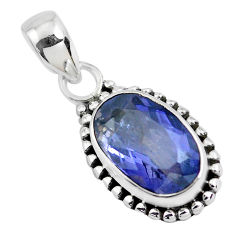 4.80cts faceted natural blue iolite 925 silver solitaire pendant jewelry p41582