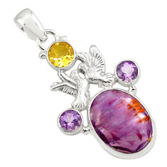Faceted natural cacoxenite super seven 925 silver love birds pendant p77921