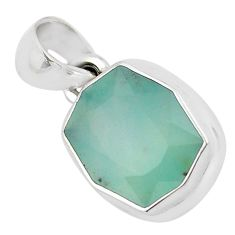 6.53cts faceted natural green gem silica 925 sterling silver pendant p54385