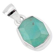6.39cts faceted natural green gem silica 925 sterling silver pendant p54398