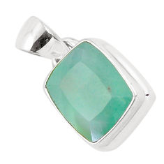 7.53cts faceted natural green gem silica 925 sterling silver pendant p54399