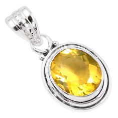 5.23cts faceted natural orange mexican fire opal silver solitaire pendant p41647