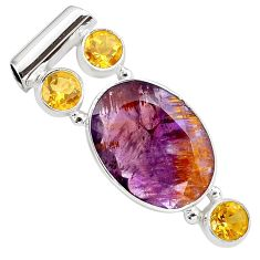 Faceted natural purple cacoxenite super seven citrine 925 silver pendant p79765