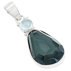 18.68cts faceted natural rainbow obsidian eye 925 silver pendant p65850