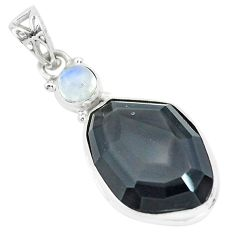 18.12cts faceted natural rainbow obsidian eye 925 silver pendant p65853