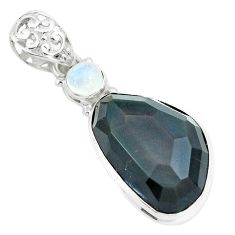 20.65cts faceted natural rainbow obsidian eye 925 silver pendant p65857