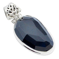 Faceted natural rainbow obsidian eye 925 sterling silver pendant jewelry p47165