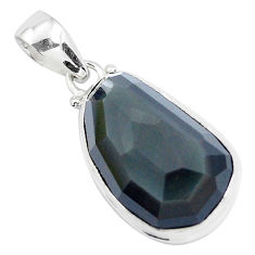 Faceted natural rainbow obsidian eye 925 sterling silver pendant jewelry p47168