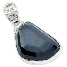 Faceted natural rainbow obsidian eye 925 sterling silver pendant jewelry p47181