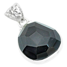 19.72cts faceted natural rainbow obsidian eye 925 sterling silver pendant p65829