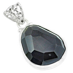 18.15cts faceted natural rainbow obsidian eye 925 sterling silver pendant p65832