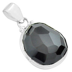 16.73cts faceted natural rainbow obsidian eye 925 sterling silver pendant p71941