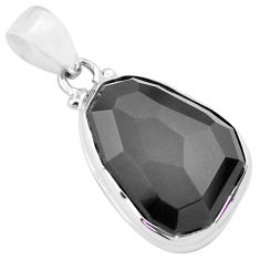 15.65cts faceted natural rainbow obsidian eye 925 sterling silver pendant p71942