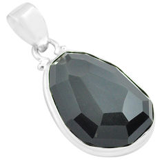 17.73cts faceted natural rainbow obsidian eye 925 sterling silver pendant p71943