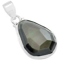 16.73cts faceted natural rainbow obsidian eye 925 sterling silver pendant p71945