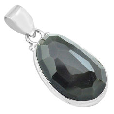 15.65cts faceted natural rainbow obsidian eye 925 sterling silver pendant p71946