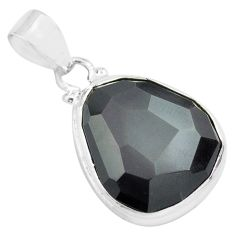 15.05cts faceted natural rainbow obsidian eye 925 sterling silver pendant p71947