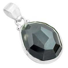 18.68cts faceted natural rainbow obsidian eye 925 sterling silver pendant p71949