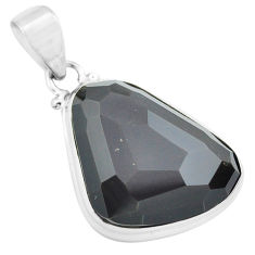 17.22cts faceted natural rainbow obsidian eye 925 sterling silver pendant p71950