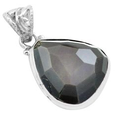 17.22cts faceted natural rainbow obsidian eye 925 sterling silver pendant p71951