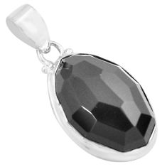 18.15cts faceted natural rainbow obsidian eye 925 sterling silver pendant p71953
