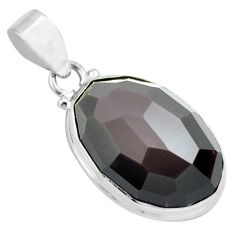 17.57cts faceted natural rainbow obsidian eye 925 sterling silver pendant p71954