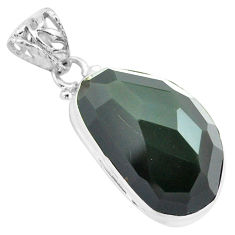 19.68cts faceted natural rainbow obsidian eye 925 sterling silver pendant p71956