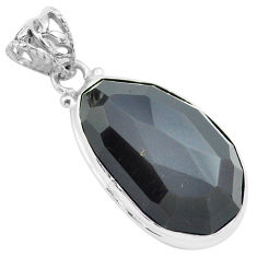 20.07cts faceted natural rainbow obsidian eye 925 sterling silver pendant p71957