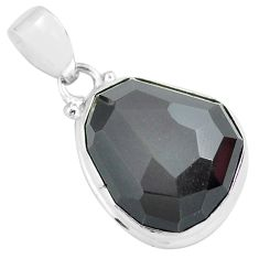 16.57cts faceted natural rainbow obsidian eye 925 sterling silver pendant p71959