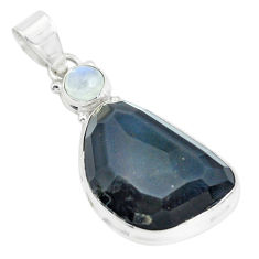 20.88cts faceted natural rainbow obsidian eye fancy 925 silver pendant p65841