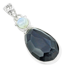 17.22cts faceted natural rainbow obsidian eye fancy 925 silver pendant p65845