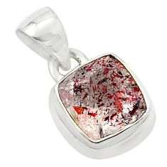 4.43cts faceted natural red strawberry quartz 925 sterling silver pendant p54482