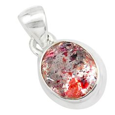 5.06cts faceted natural red strawberry quartz 925 sterling silver pendant p54483