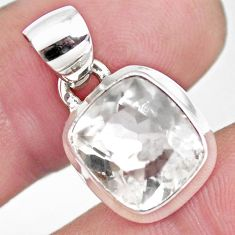 5.38cts faceted natural white pollucite 925 sterling silver pendant p54407