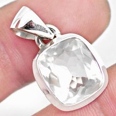 5.63cts faceted natural white pollucite 925 sterling silver pendant p54410