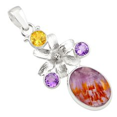 13.69cts faceted purple cacoxenite super seven 925 silver flower pendant p77904