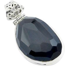18.68cts faceted rainbow obsidian eye 925 sterling silver pendant jewelry p47195