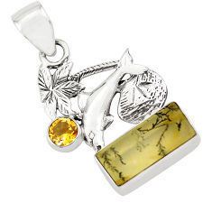 6.84cts faceted yellow dendritic quartz 925 silver dolphin pendant p79565
