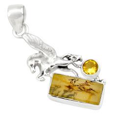 7.12cts faceted yellow dendritic quartz 925 silver unicorn pendant p79580