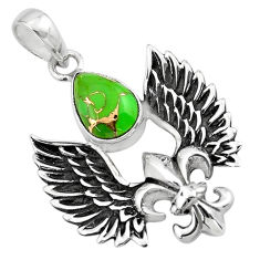 4.36cts feather charm green copper turquoise 925 sterling silver pendant p86365