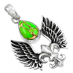 5.24cts feather charm green copper turquoise 925 sterling silver pendant p86371