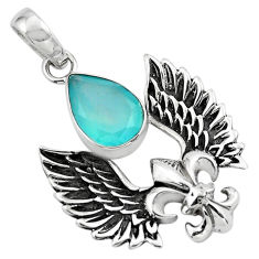 5.52cts feather charm natural aqua chalcedony pear 925 silver pendant p86368