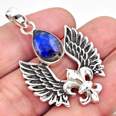5.51cts feather charm natural blue labradorite 925 silver pendant p86376