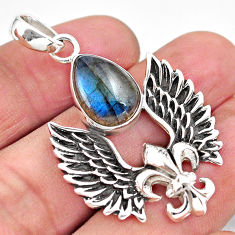 7.21cts feather charm natural blue labradorite 925 silver pendant p86377