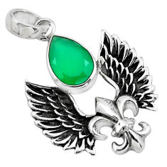 5.38cts feather charm natural green chalcedony 925 silver pendant p86370