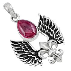 5.52cts feather charm natural red garnet 925 sterling silver pendant p86361