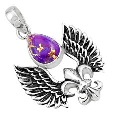 5.35cts feather charm purple copper turquoise 925 sterling silver pendant p86362