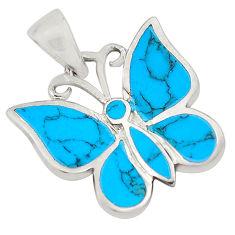3.26gms fine blue turquoise enamel 925 silver 14k gold butterfly pendant c4437