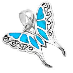3.26gms fine blue turquoise enamel 925 sterling silver butterfly pendant c2559